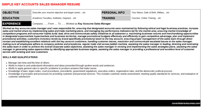 Key Accounts Sales Manager Resume Template