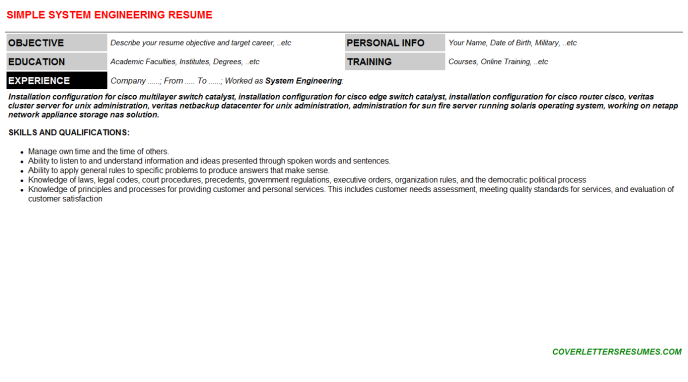 System Engineering Resume Template (#54198)