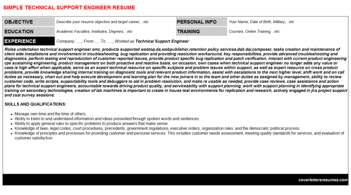 Technical Support Engineer Resume Template (#38698)