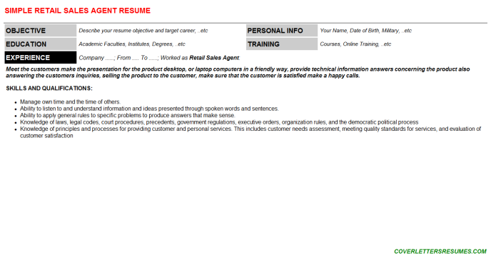 Retail Sales Agent Resume Template