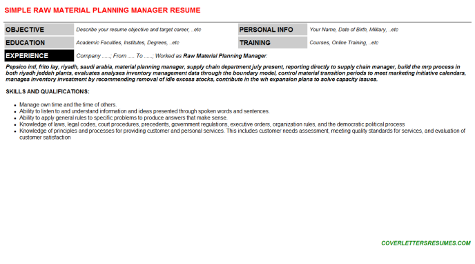 Raw Material Planning Manager Resume Template (#19519)
