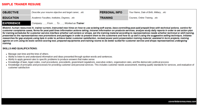 Trainer Resume Template