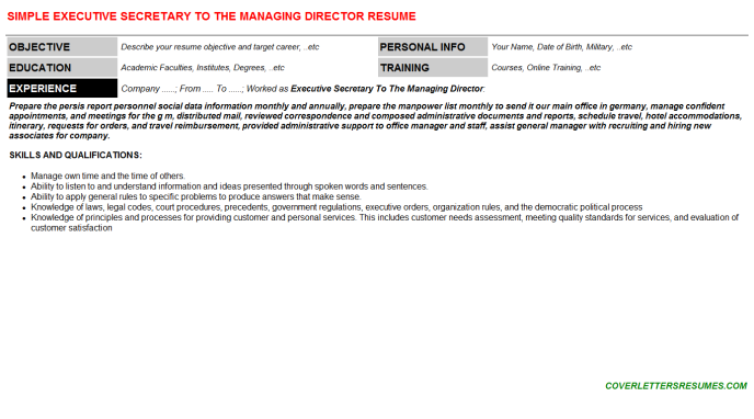 Executive Secretary To The Managing Director Resume Template