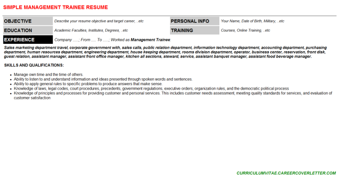 Management Trainee CV Cover Letter & Resume Template (#70201 ...