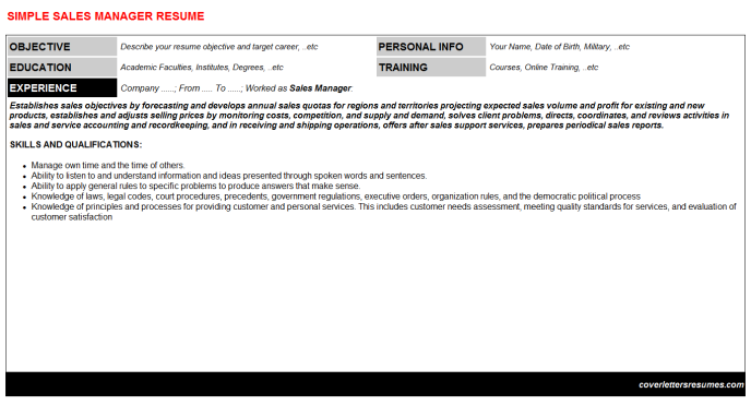 Sales Manager Resume Template (#202)
