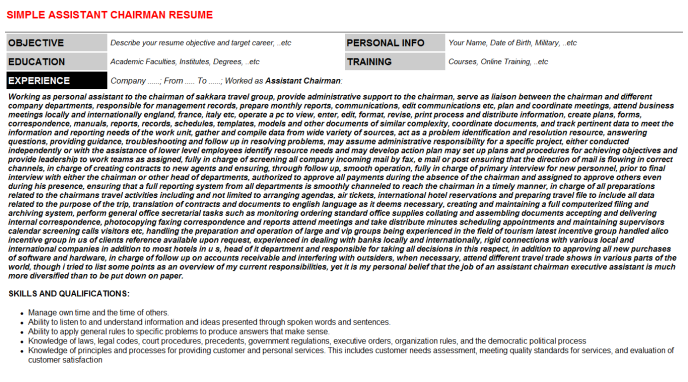 Assistant Chairman Resume Template