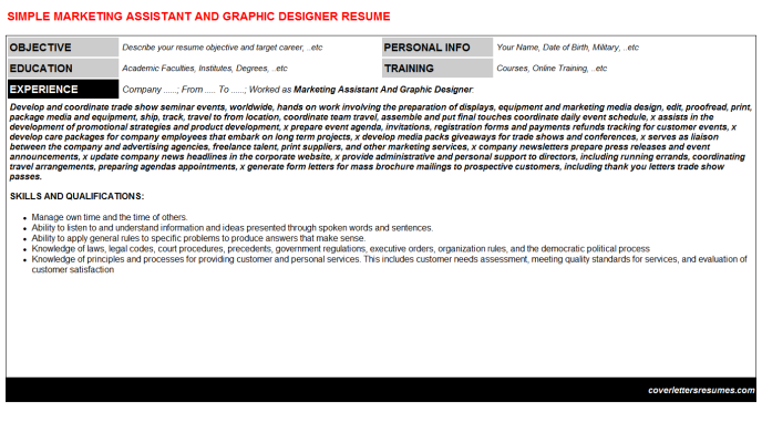 Marketing Assistant And Graphic Designer Resume Template