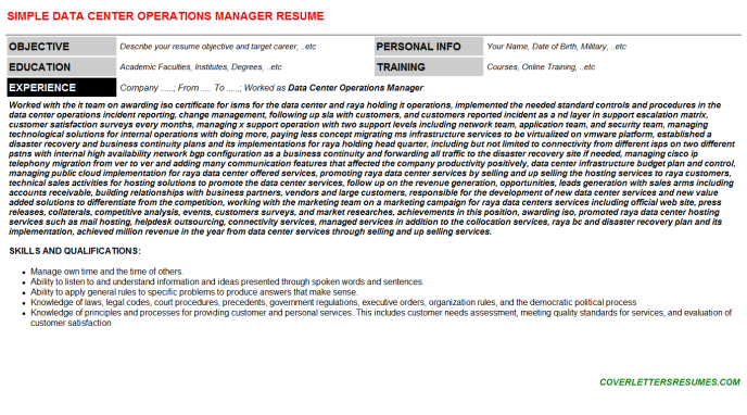 Data Center Operations Manager Resume Template 51204