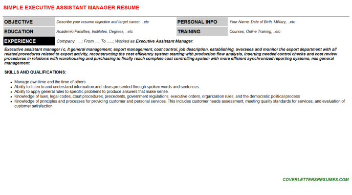 Executive Assistant Manager Resume Template