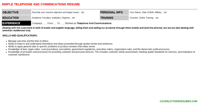 Telephone And Commnications Resume Template