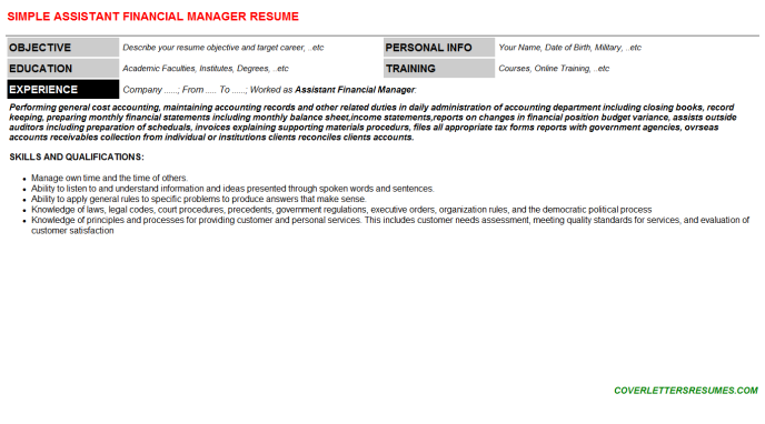 Assistant Financial Manager Resume Template (#707)