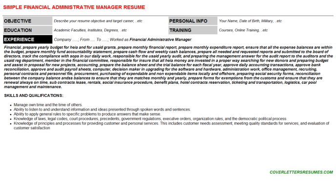 Financial Administrative Manager Resume Template (#1708)