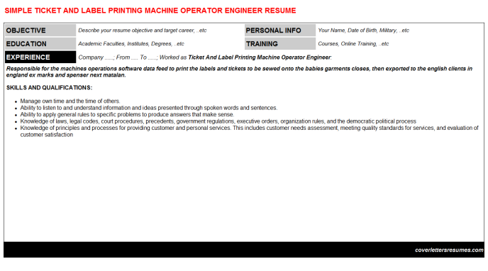 Ticket And Label Printing Machine Operator Engineer Resume Template
