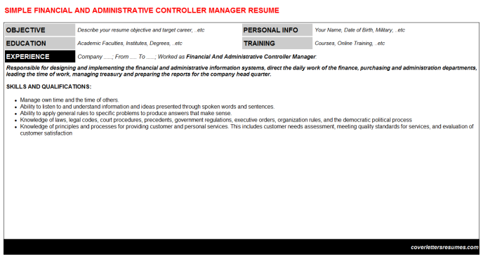 Financial And Administrative Controller Manager Resume Template