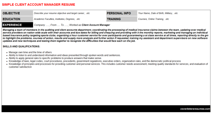 Client Account Manager CV Cover Letter & Resume Template