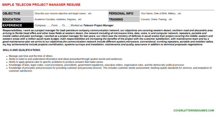 Telecom Project Manager CV Cover Letter & Resume Template ...