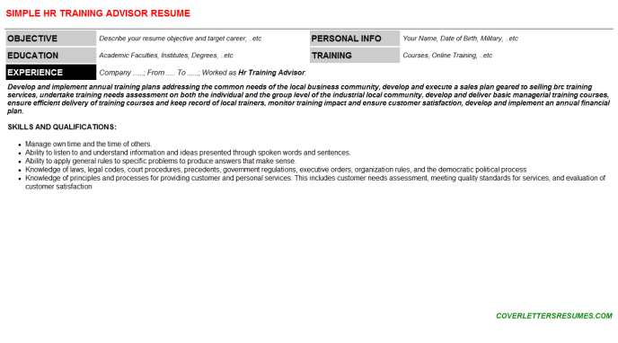 Hr Training Advisor Resume Template (#68212)