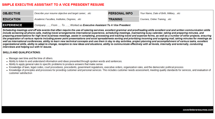 Executive Assistant To A Vice President Resume Template (#1213)