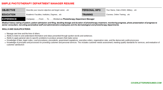 Phototherapy Department Manager Resume Template (#18714)