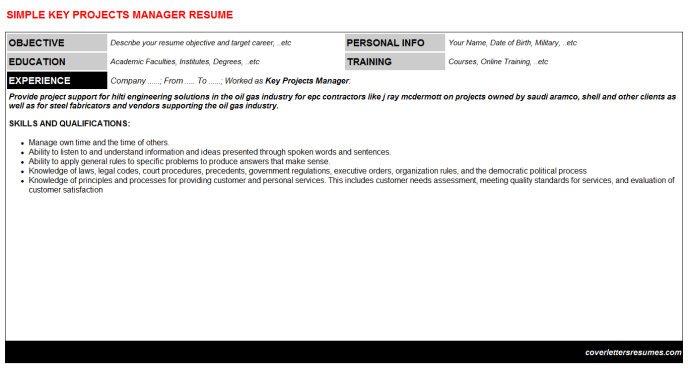 Key Projects Manager Resume Template