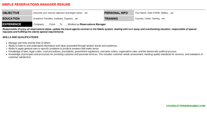 Reservations Manager Resume Template