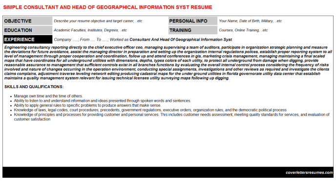 Consultant And Head Of Geographical Information Syst Resume Template
