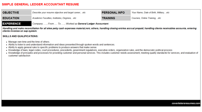 General Ledger Accountant Resume Template (#52521)