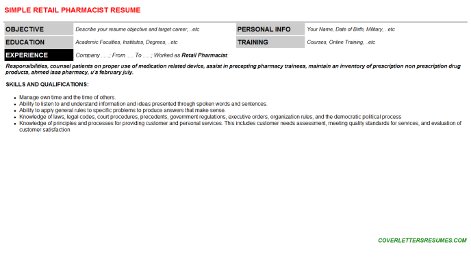 Retail Pharmacist Resume Template