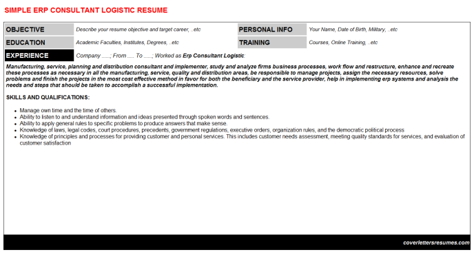 Erp Consultant Logistic CV Cover Letter & Resume Template