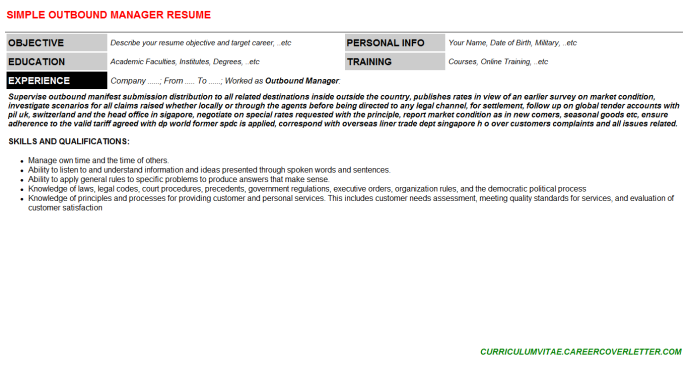 Outbound Manager Resume Template