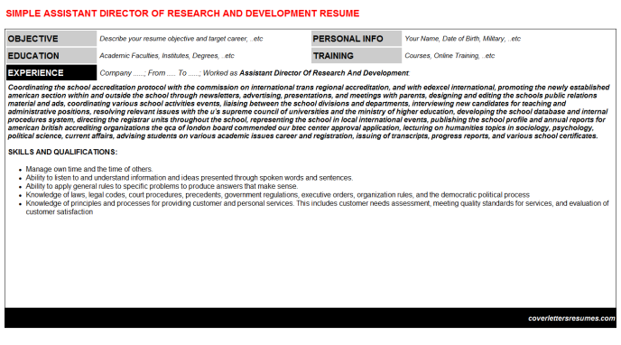 Assistant Director Of Research And Development Resume Template (#4720)