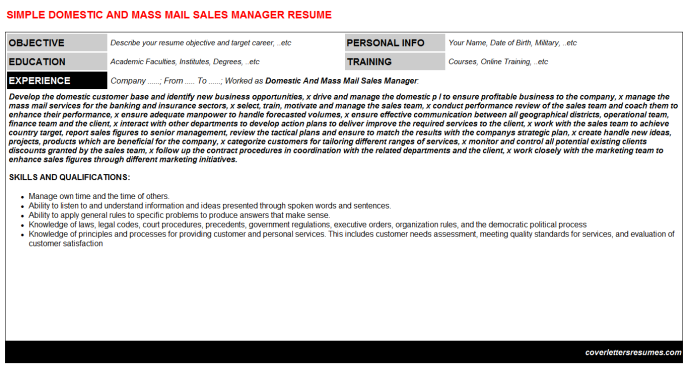 Domestic And Mass Mail Sales Manager CV Cover Letter & Resume Template