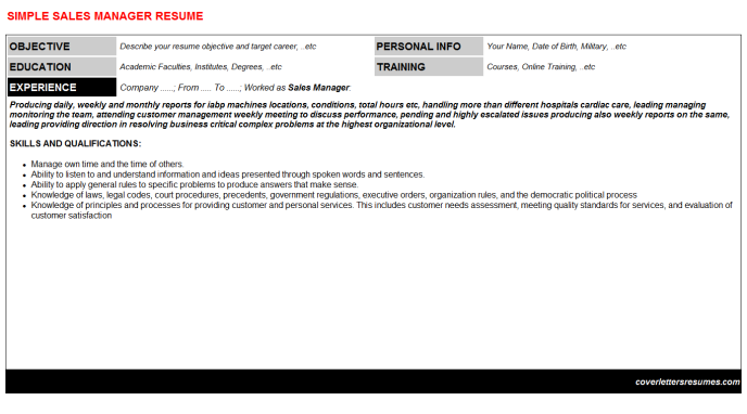 Sales Manager Resume Template (#18720)