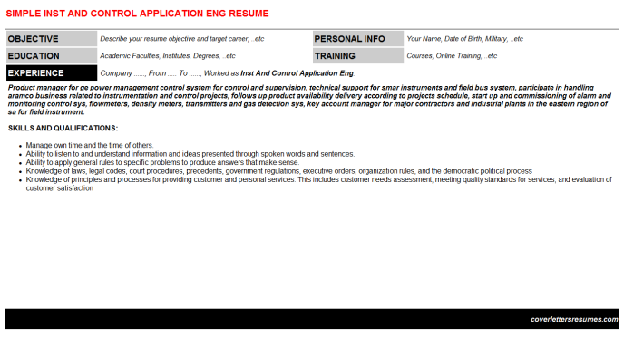 Inst And Control Application Eng Resume Template (#221)