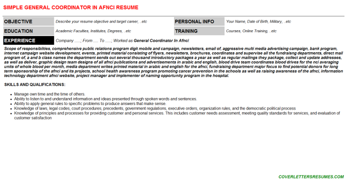 General Coordinator In Afnci Resume Template (#2722)