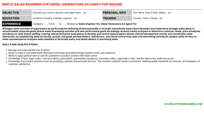 Sales Engineer For Diesel Generators As Agent For CV Cover ...