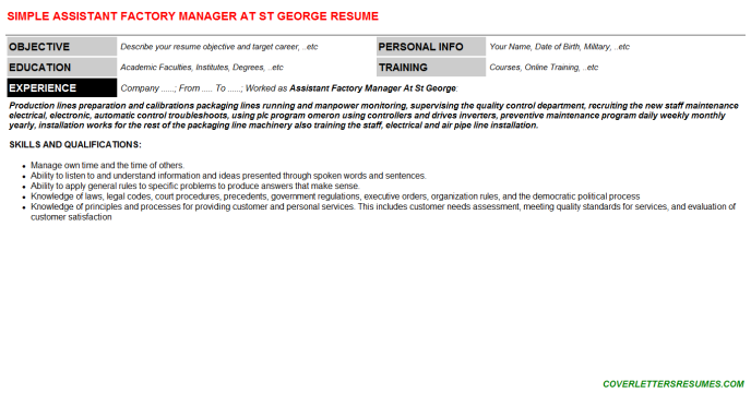 Assistant Factory Manager At St George Resume Template (#225)