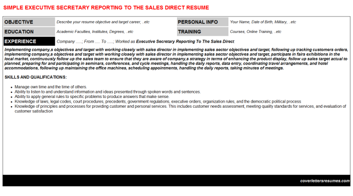 Executive Secretary Reporting To The Sales Direct Resume Template (#29225)