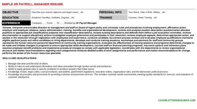 Hr Payroll Manager Resume Template