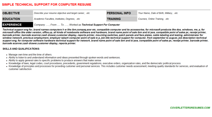 Technical Support For Computer Resume Template
