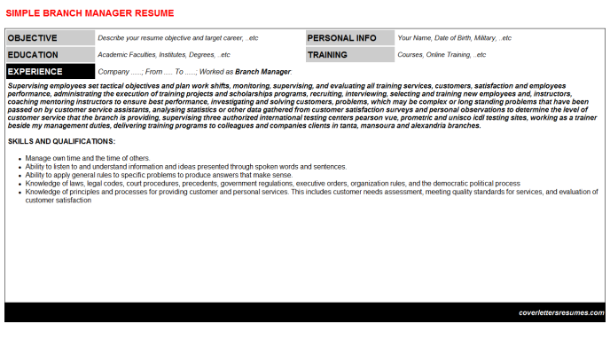 Branch Manager CV Cover Letter & Resume Template (#37729)