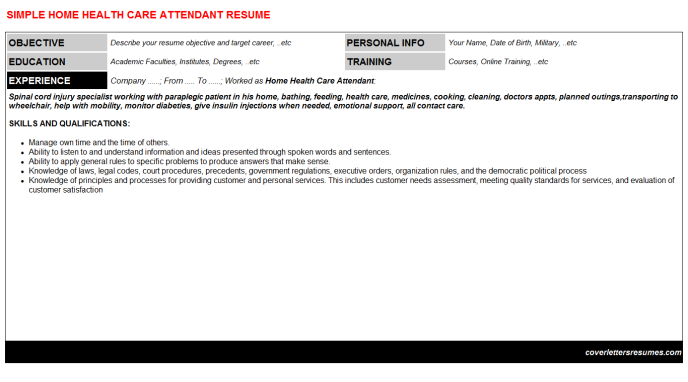 Home Health Care Attendant Resume Template
