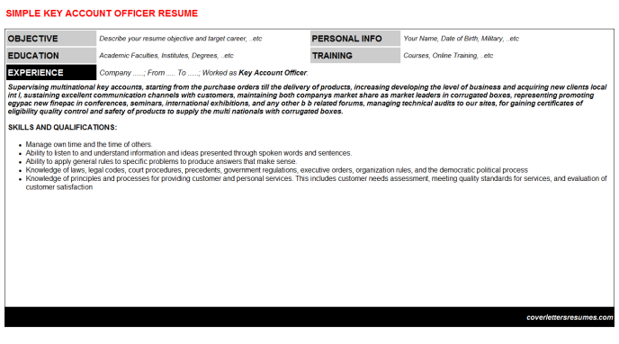 Key Account Officer Resume Template