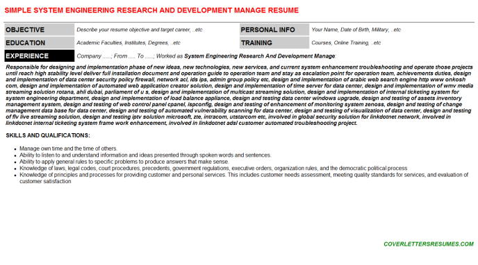 System Engineering Research And Development Manage Resume Template (#1730)