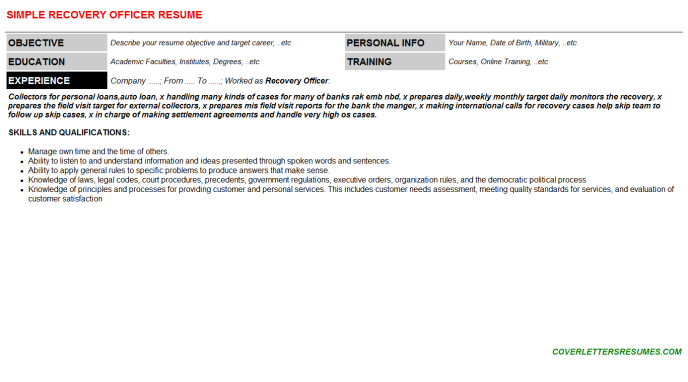 Recovery Officer Resume Template