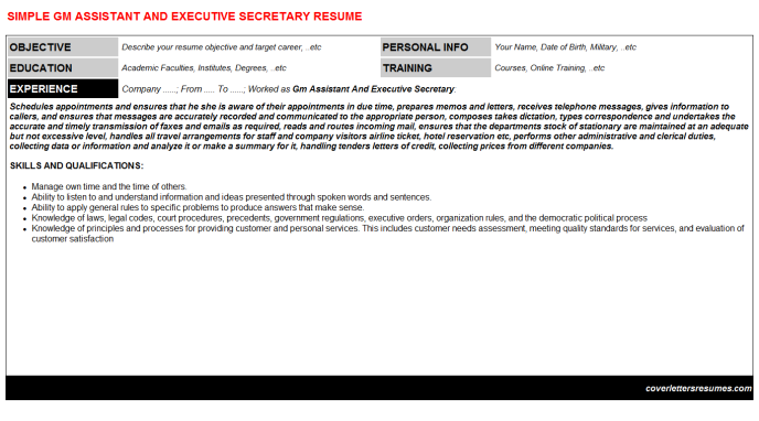 Gm Assistant And Executive Secretary Resume Template (#732)