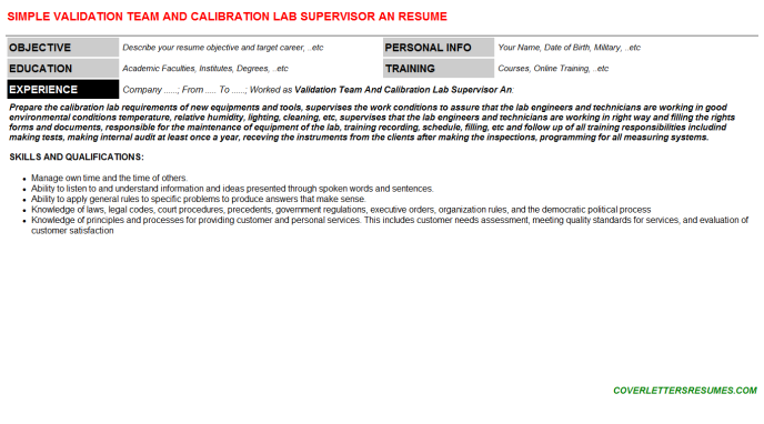 Validation Team And Calibration Lab Supervisor An Resume Template (#7233)