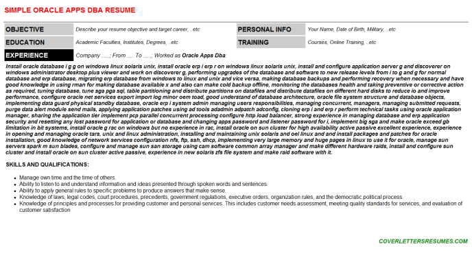 Oracle Apps Dba Resume Template