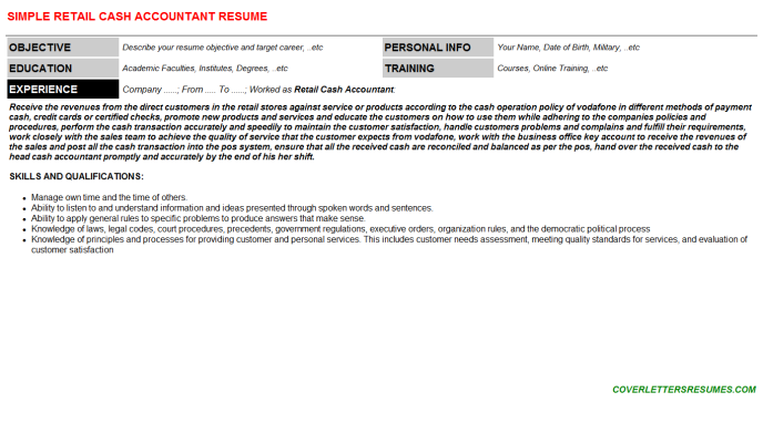 retail cash accountant cv cover letter & resume