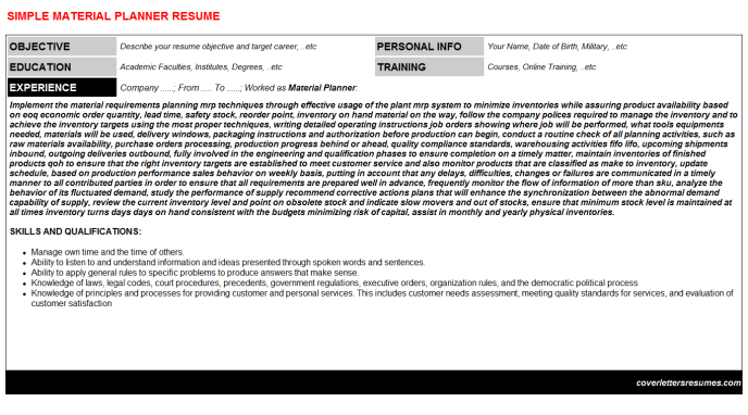 Material Planner Resume Template (#35235)
